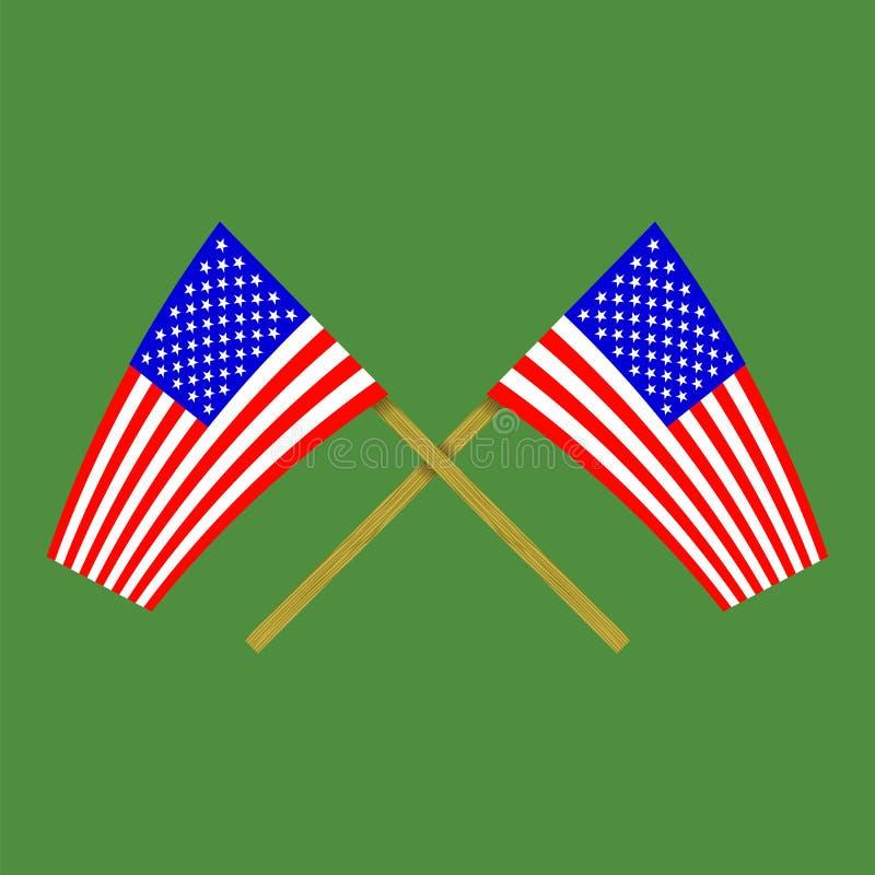 Zwei gekreuzte amerikanische Flaggen auf grünem Hintergrund lizenzfreie abbildung
