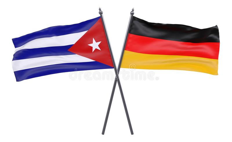 Zwei gekreuzte Flaggen vektor abbildung