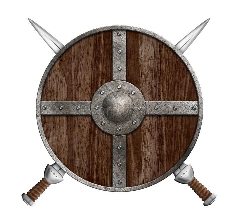 Zwei gekreuzte Klingen und hölzernes Wikinger-Schild lokalisiert lizenzfreie abbildung