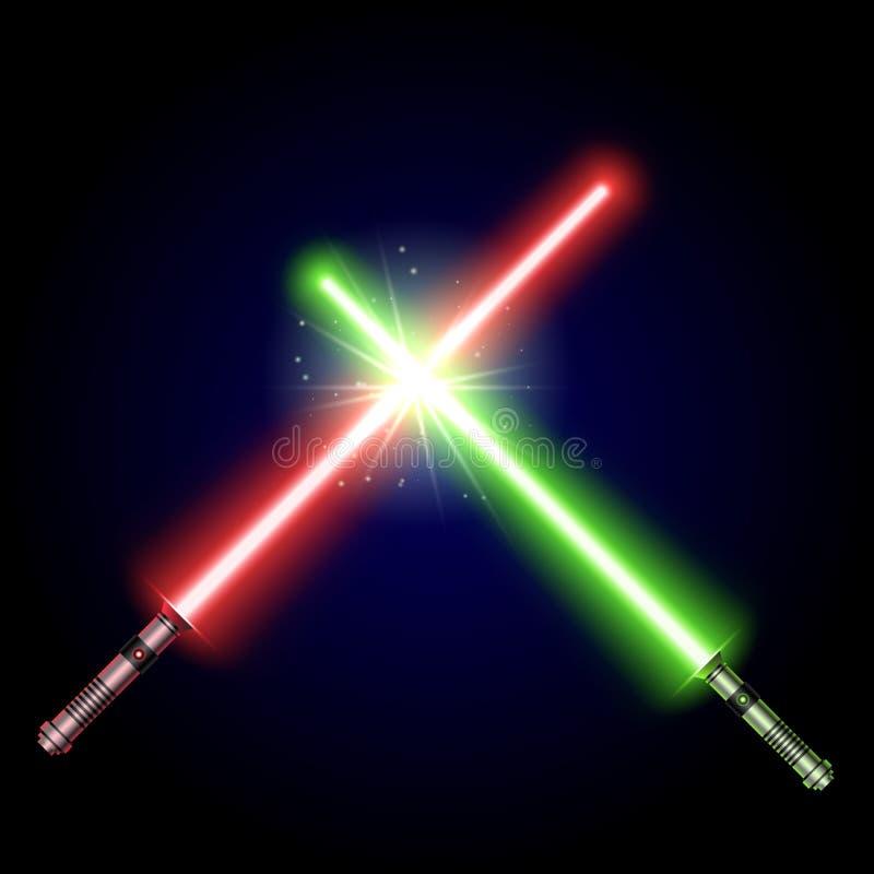 Zwei gekreuzter heller Klingen-Kampf vektor abbildung