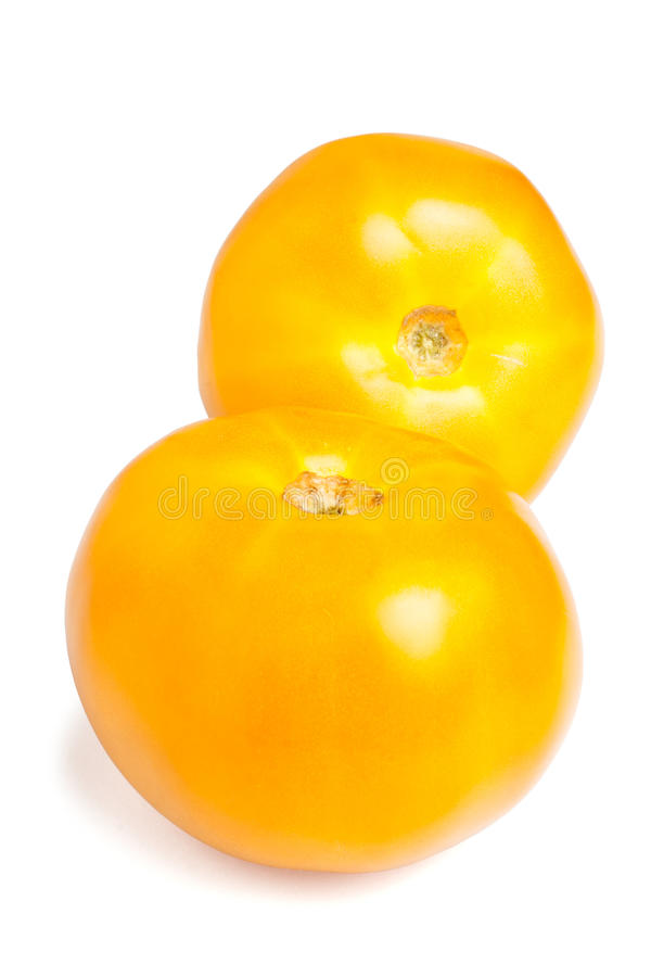 Zwei gelbe Tomaten lizenzfreies stockbild
