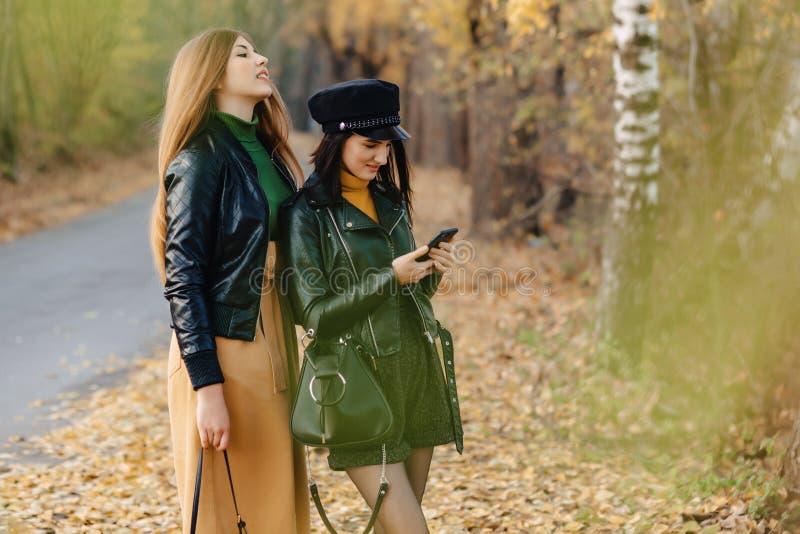 zwei gemütliche junge Mädchen gehen an der Herbstparkstraße Fotos machen lizenzfreie stockfotos