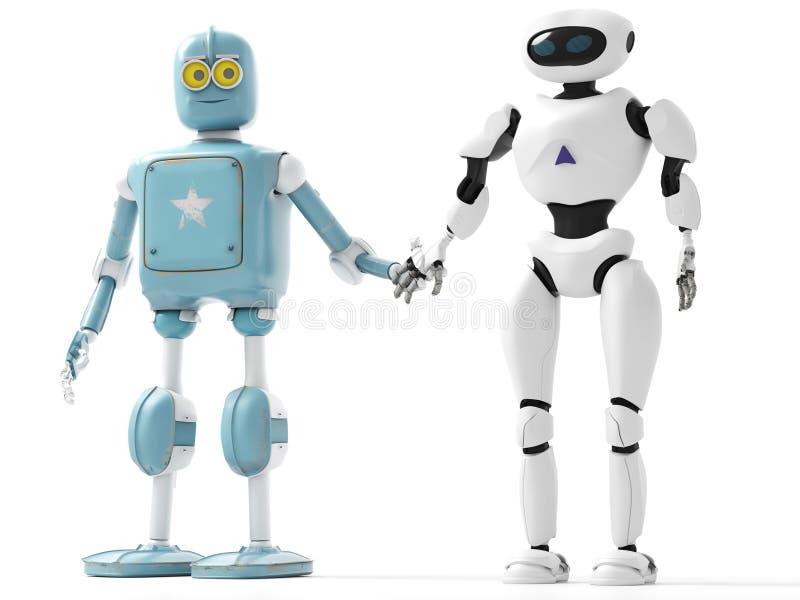Zwei Generationen des Roboterhändchenhaltens mit einem auf-weißen backgro stock abbildung