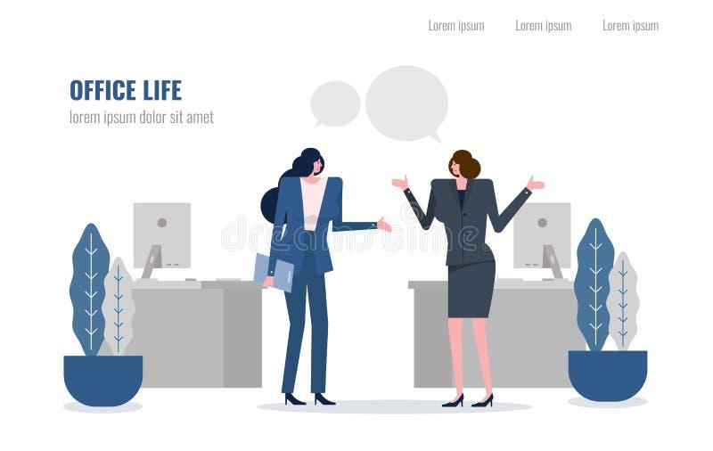 Zwei Geschäftsfrau, die im Büroraum spricht stock abbildung