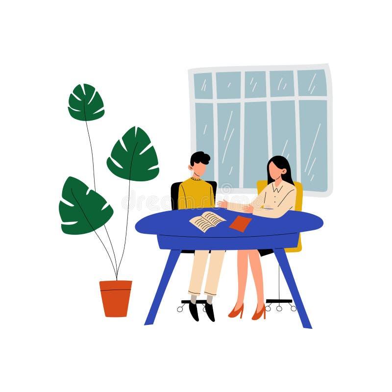 Zwei Geschäftsfrau, die am Schreibtisch sitzt und, Kollegen zusammenarbeiten im Büro, Kommunikation zwischen Mitarbeitern spricht vektor abbildung