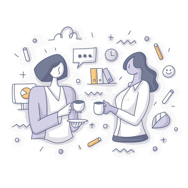 Zwei Geschäftsfrauen auf Kaffeepause am Arbeits-Konzept lizenzfreie abbildung