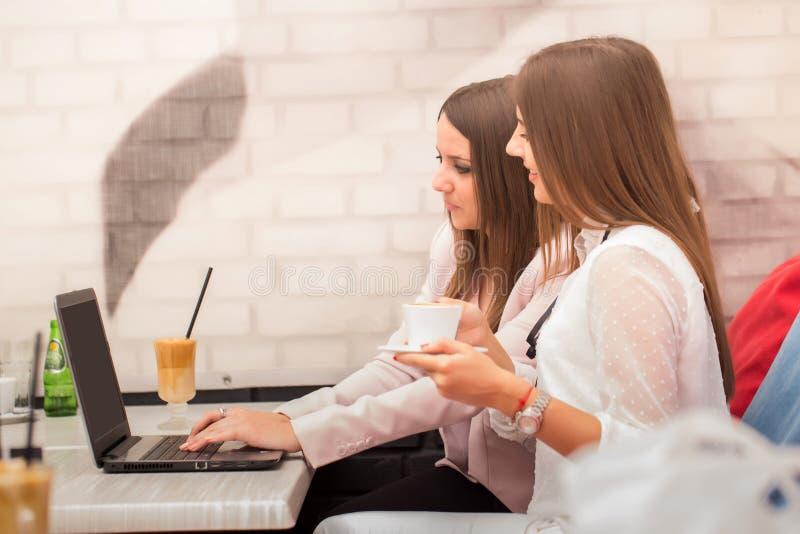 Zwei Geschäftsfrauen, die an Laptop in der Kaffeestube arbeiten lizenzfreie stockfotografie