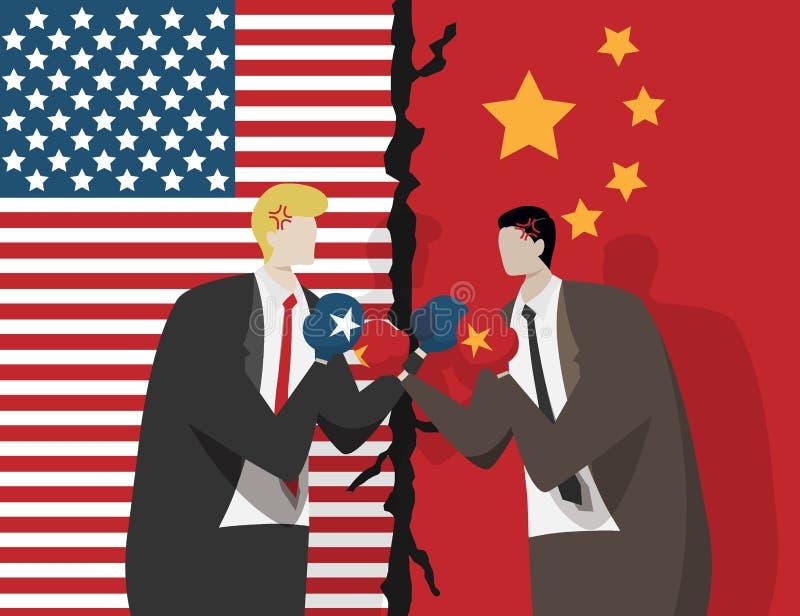 Zwei Geschäftsleute, die Boxhandschuhe für Kampf, Flagge von USA und China am Hintergrund tragen Handelskonflikt zwischen USA und vektor abbildung