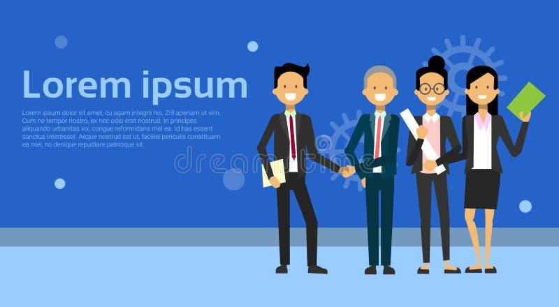 Zwei Geschäftsleute, die Hände mit Team Of Businesspeople Over Background mit Kopien-Raum rütteln stock abbildung