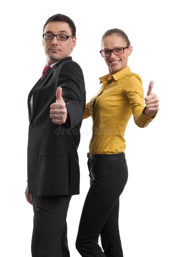 Zwei Geschäftsleute mit dem Daumen oben lizenzfreies stockfoto