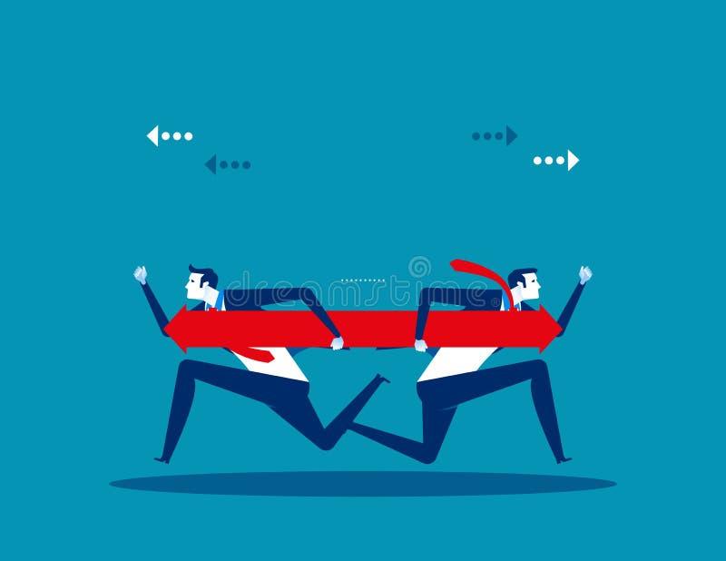 Zwei Gesch?ftsleute sind auf der Richtung anderer Meinung Konzeptgesch?fts-Vektorillustration stock abbildung