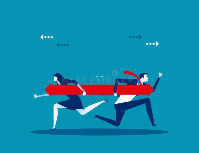 Zwei Gesch?ftsleute sind auf der Richtung anderer Meinung Konzeptgesch?fts-Vektorillustration lizenzfreie abbildung