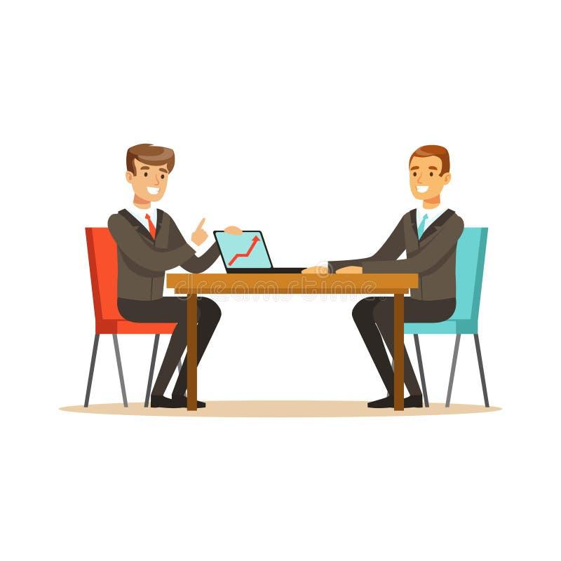 Zwei Geschäftsmänner bei einem Geschäftstreffen neues Projekt mit Laptop in Bürovektor Illustration besprechend lizenzfreie abbildung