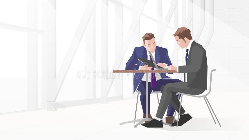 Zwei Geschäftsmänner in der Sitzung unter Verwendung des Laptops stock abbildung