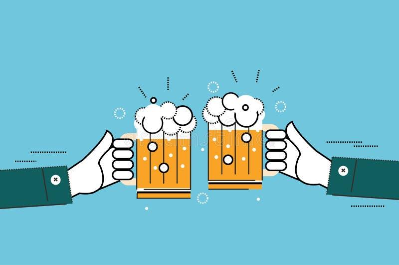 Zwei Geschäftsmänner, die Gläser Bier rösten vektor abbildung
