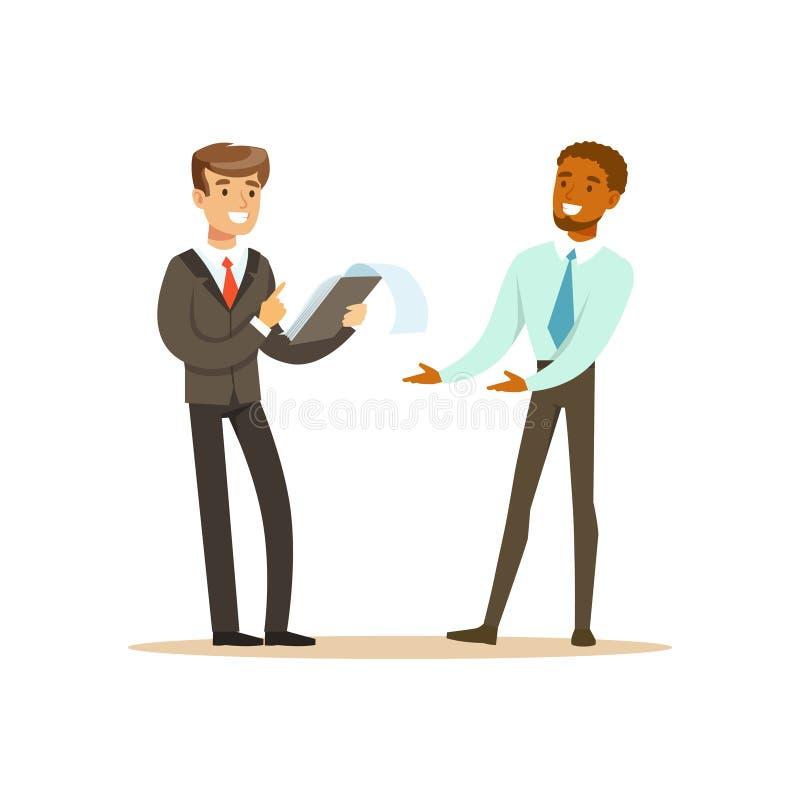 Zwei Geschäftsmänner, die neues Projekt in Bürovektor Illustration besprechen stock abbildung