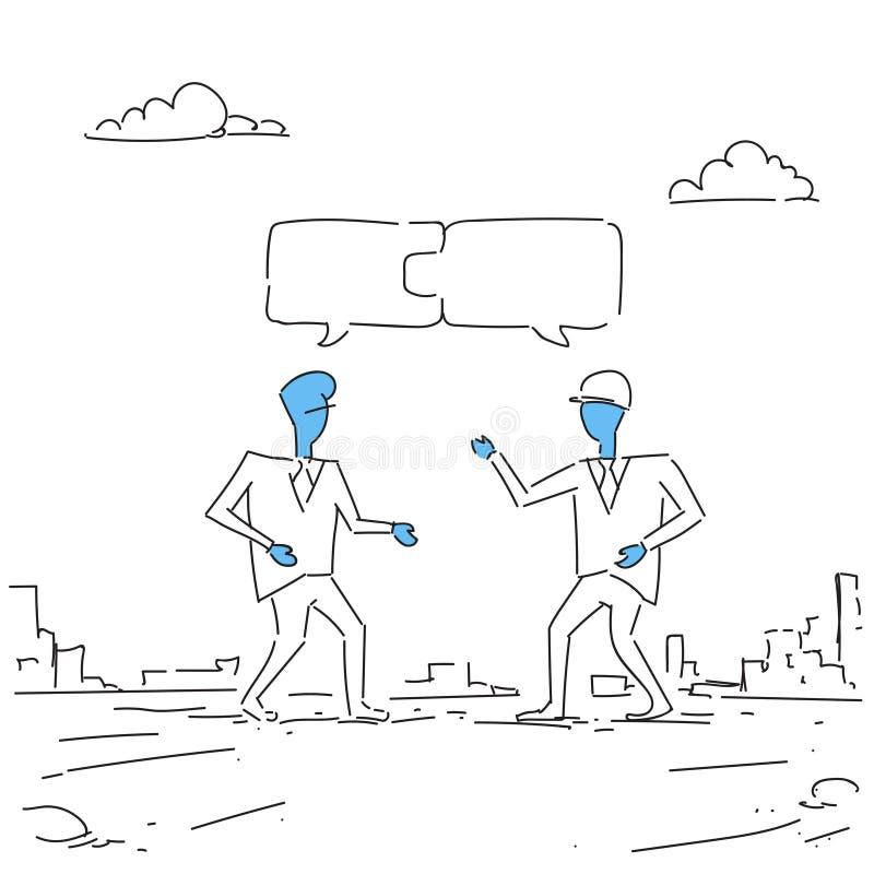 Zwei Geschäftsmänner, die Puzzlespiel-Teamwork-erfolgreiches Geschäft Team Development Growth sammeln stock abbildung