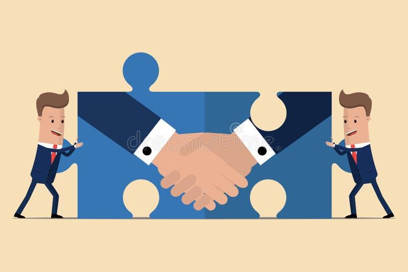 Zwei Geschäftsmänner, die Puzzlespielelemente mit einem Händedruck halten zwei Hände mit verschiedenen Stücken des Puzzlespiels S vektor abbildung