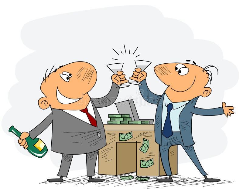 Zwei Geschäftsmänner feiern Abkommen stock abbildung