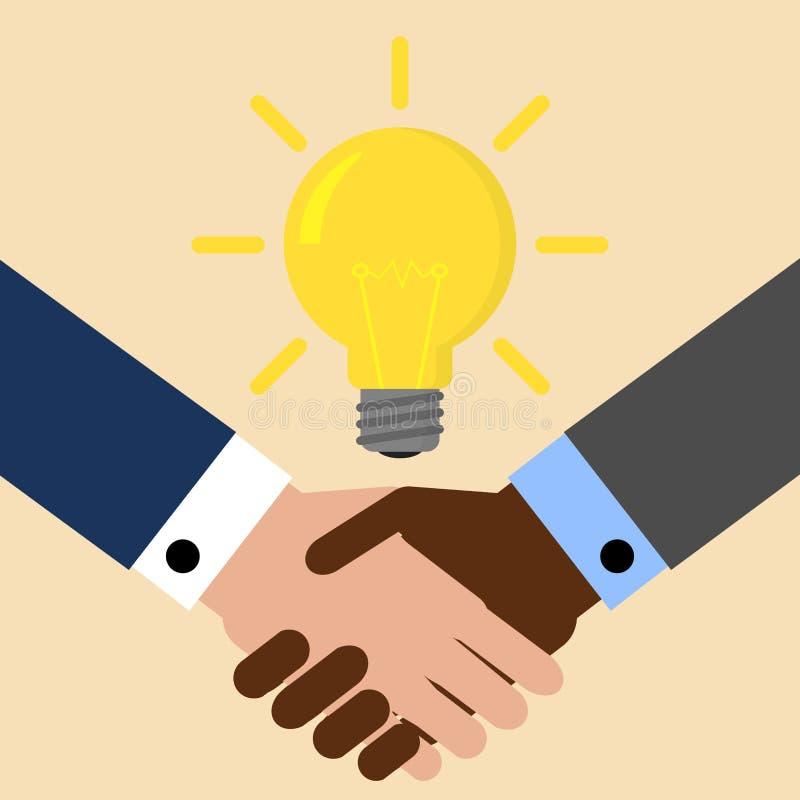 Zwei Geschäftsmänner rütteln Hände für ein Abkommen, Glühlampe Lampenhauptmensch gegen Begriffshintergrund Auch im corel abgehobe stock abbildung