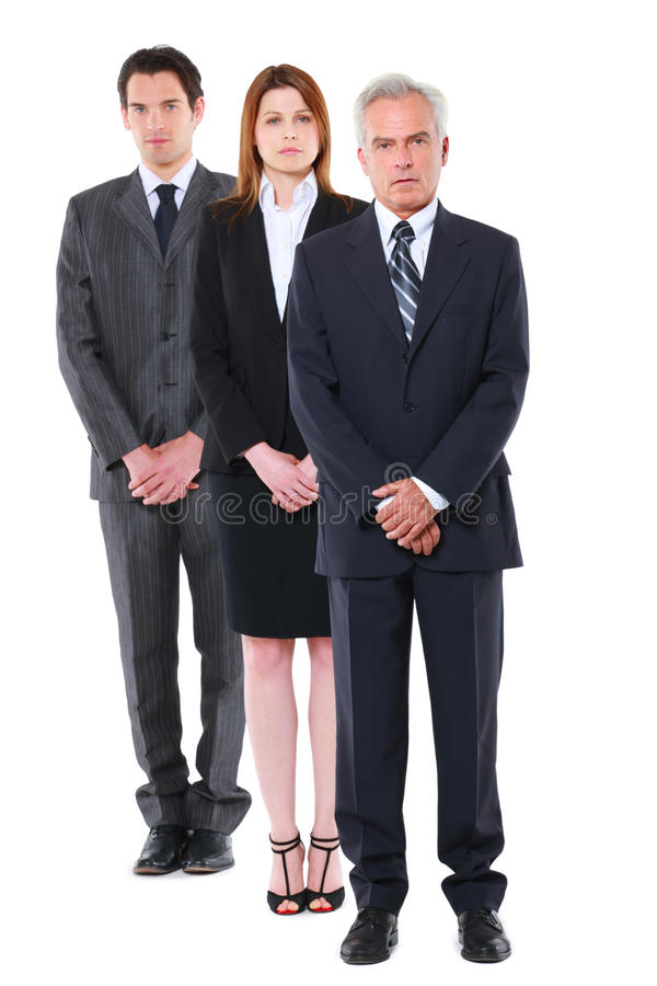 Zwei Geschäftsmänner und eine Geschäftsfrau lizenzfreies stockfoto