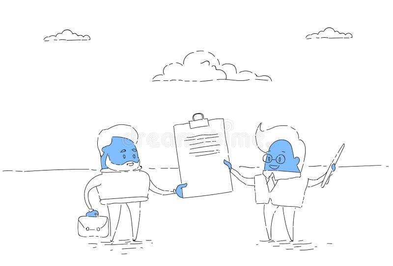 Zwei Geschäftsmann Hold Contract Signing oben, Geschäftsmann-Abkommen-erfolgreiches Vereinbarungs-Konzept stock abbildung