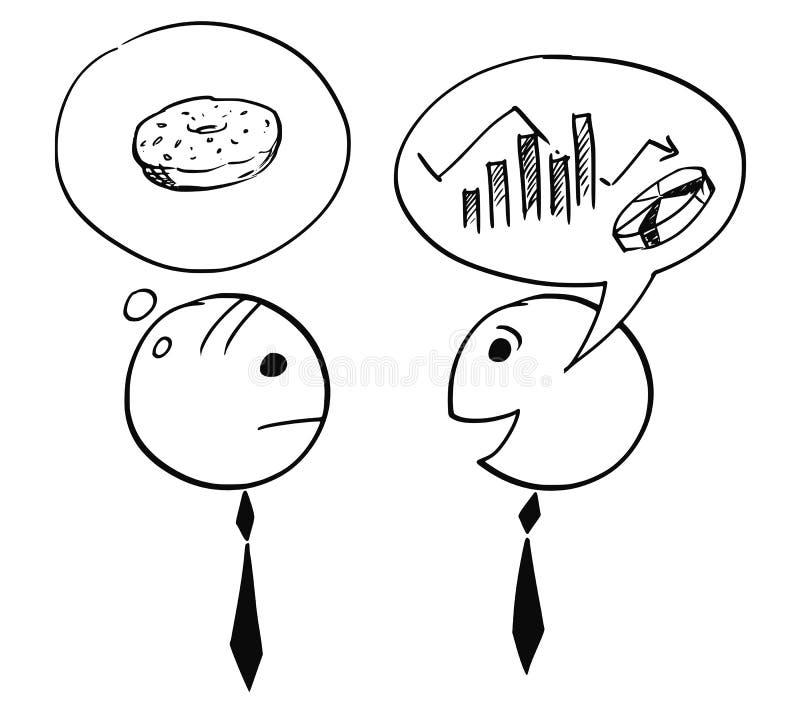 Zwei Geschäftsmann Talking About Charts- und Donut-Donut vektor abbildung