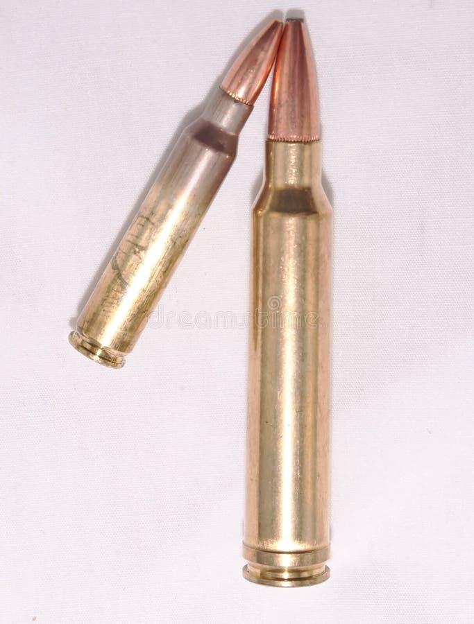 Zwei Gewehrkugeln, a Kaliber 223 und a 300 Winchester Magnumkaliber stockfotos