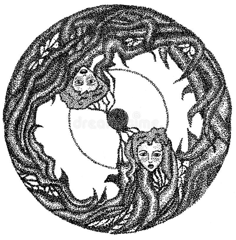Zwei girs im Kreis lizenzfreie abbildung