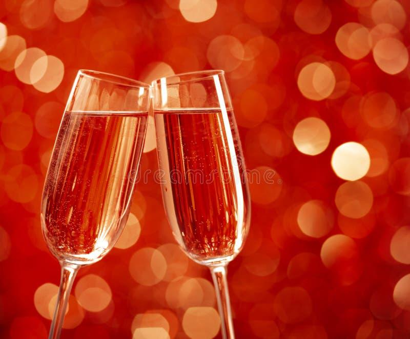 Zwei Gläser Champagner stockfotos