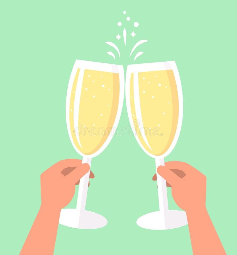 Zwei Gläser Champagner in den Händen, Hand, die ein Glas hält stock abbildung