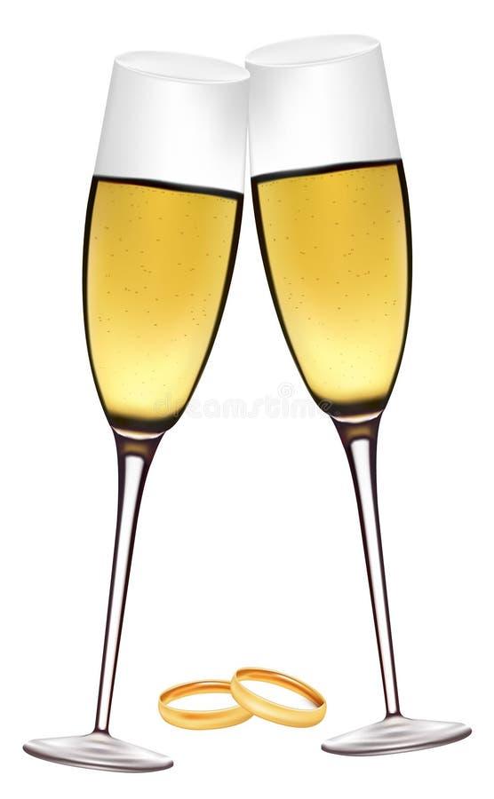 Zwei Gläser Champagner mit Hochzeitsringen. stock abbildung