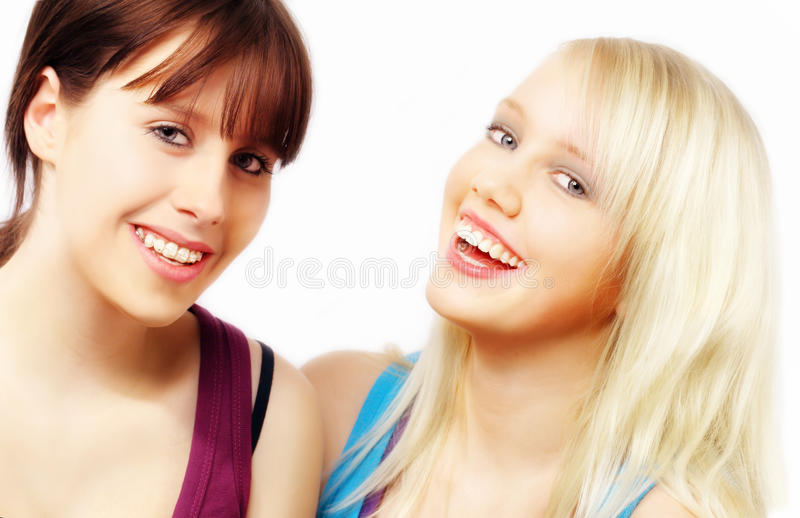 Zwei glückliche Frauen lizenzfreie stockbilder