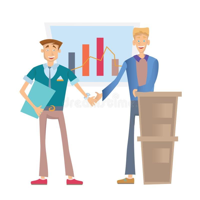 Zwei glückliche Geschäftsleute, welche die Hände, stehend an einer Flip-Chart mit einem Finanzdiagramm rütteln Vektor-Illustratio stock abbildung