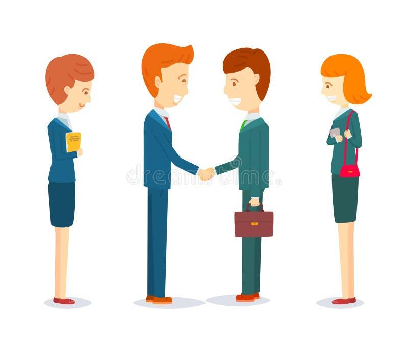 Zwei glückliche Geschäftsmänner, die Hand rütteln, um Vereinbarung zu unterzeichnen vektor abbildung