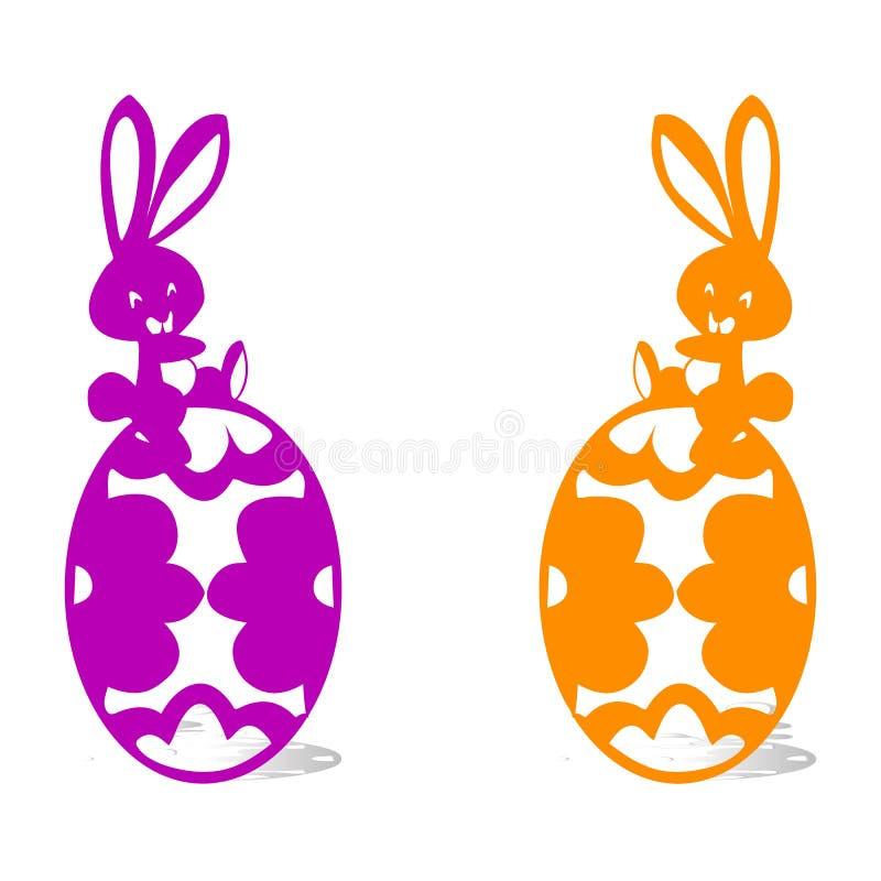 Zwei glückliche Hasen, die auf Ostereiern, Schattenbild auf weißem backg sitzen stock abbildung