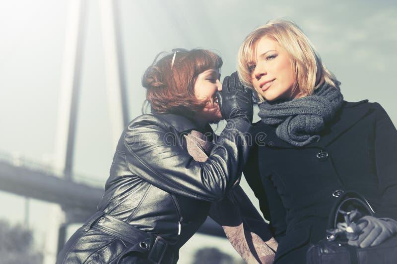 Zwei glückliche junge Modefrauen, die in der Stadtstraße sprechen stockbild