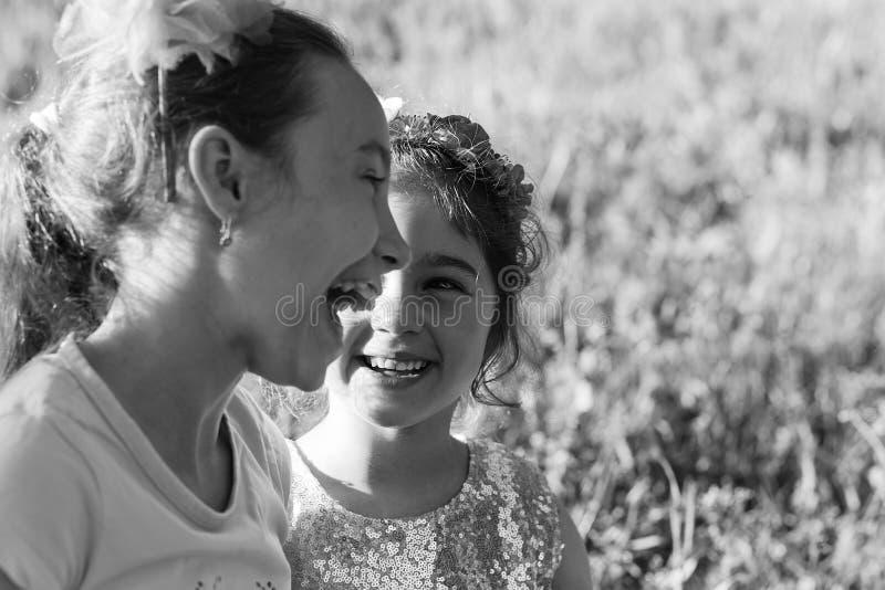 Zwei glückliche kleine Mädchen, die am Sommerpark lachen und umarmen lizenzfreie stockbilder