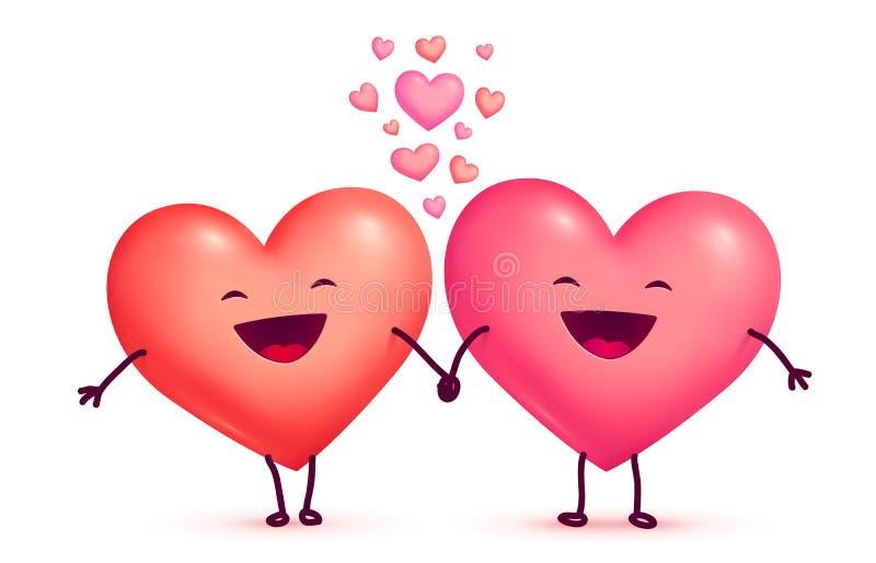Zwei glückliche lachende nette reizende Herzen des Händchenhaltens, Vektor Valentinsgrußtagesgrußwagenelemente stock abbildung