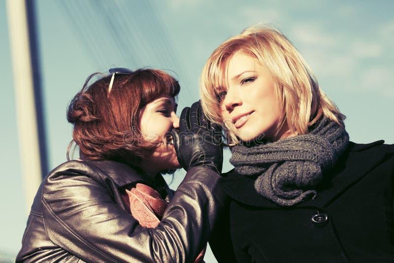 Zwei glückliche Modefrauen, welche die Geheimnisse im Freien teeling sind lizenzfreies stockfoto