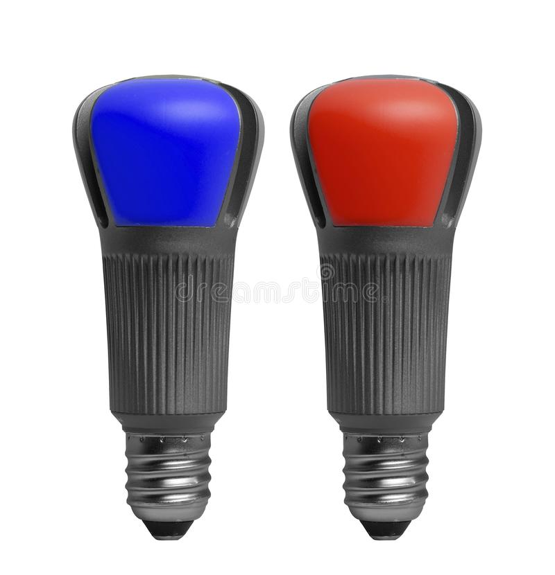 Zwei Glühlampen lokalisiert auf Weiß lizenzfreie stockfotos