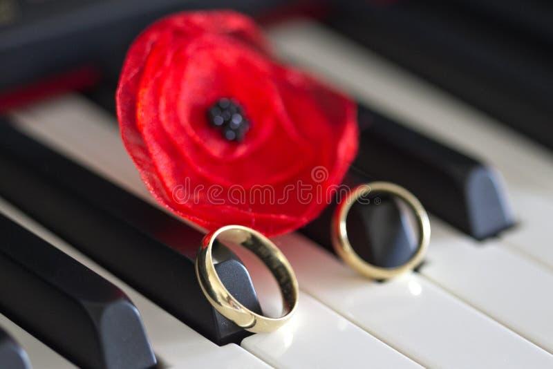 Zwei Goldeheringe auf den Klavierschlüsseln stockbilder