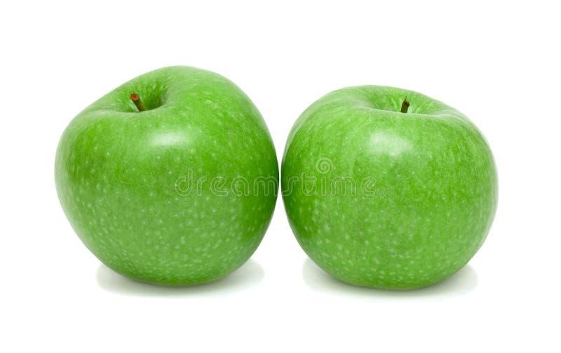 Zwei grüne Äpfel lizenzfreies stockbild