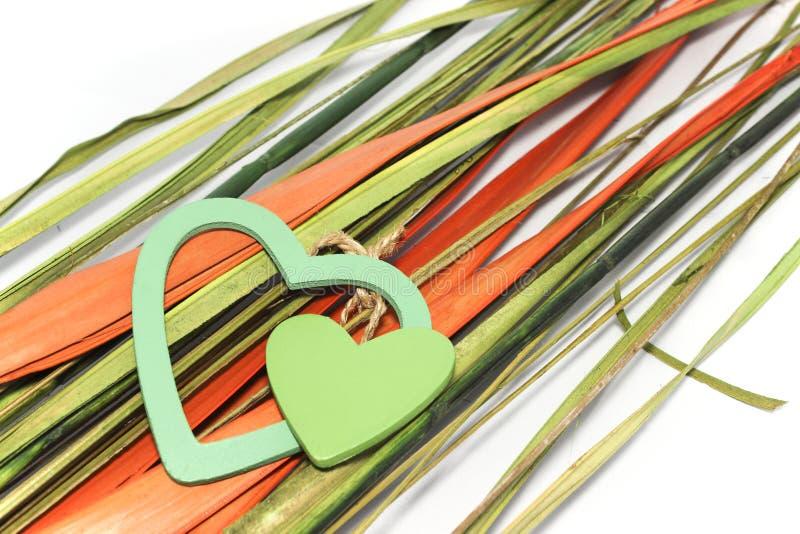 Zwei grüne Herzen auf brigt Blättern stockbilder
