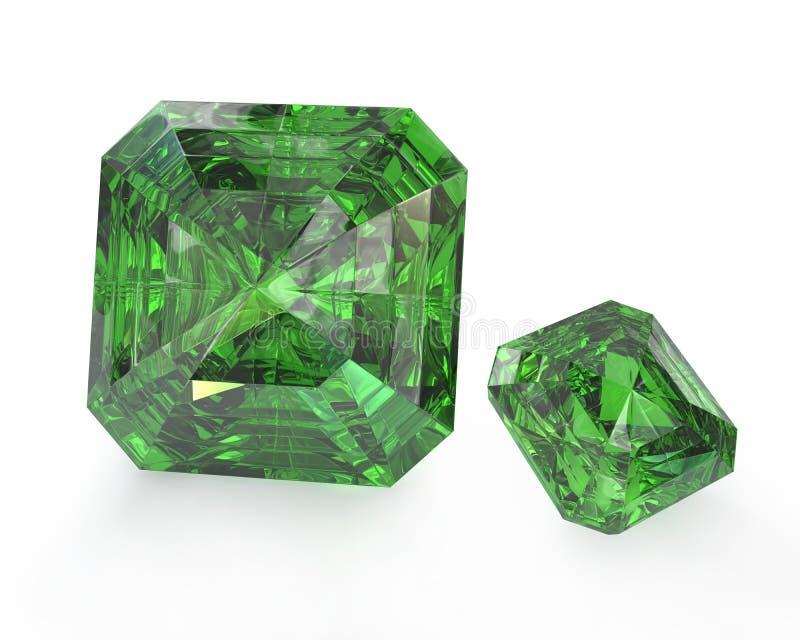 Zwei grüne Smaragde stock abbildung