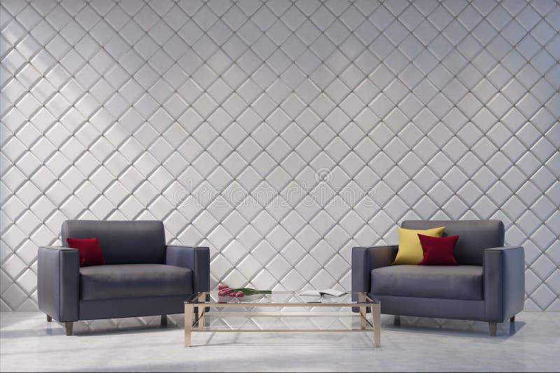Zwei graue Lehnsessel in einem weißen Wohnzimmer, Muster stock abbildung