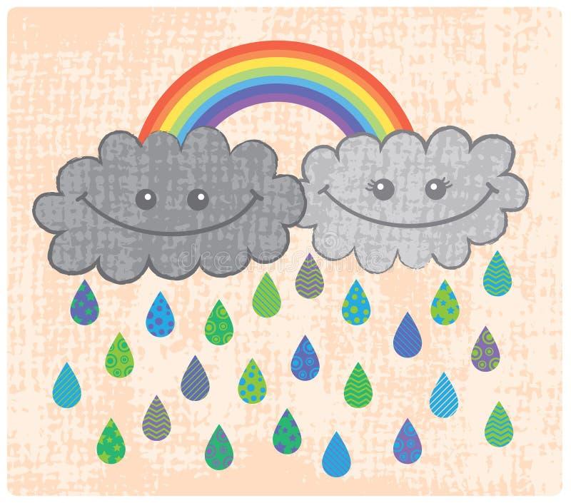 Zwei glückliche Regenwolken mit Regenbogen stock abbildung