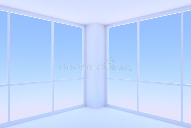 Zwei große Fenster im leeren blauen Geschäftslokalraum vektor abbildung