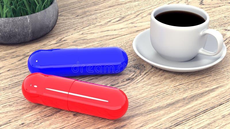 Zwei große Tabletten und ein Tasse Kaffee auf dem Tisch Wiedergabe 3d lizenzfreie abbildung