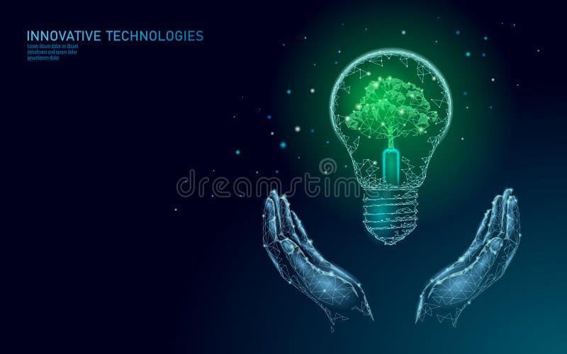 Zwei Hände, die energie-Ökologiekonzept der Glühlampelampe Rettungstragen Polygonaler hellblauer Sprösslingspflänzchensämling lizenzfreie abbildung